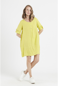 Vestido lino escote redondo