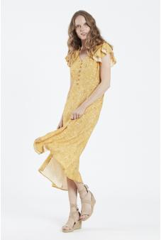 Vestido Español estampado en tonos amarillos