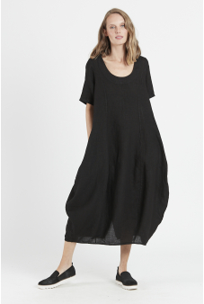 Vestido lino manga corta