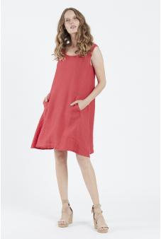 Vestido lino midi rojo, privilege
